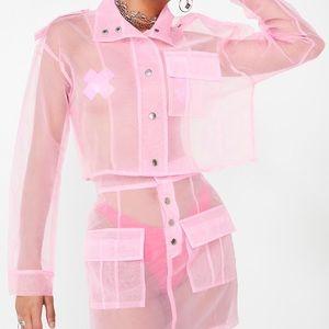 Dolls Kill Cotton Candied Sheer Jacket/Skirt Set